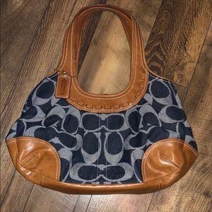 Coach Denim & Leather Monogram Satchel Bag Purse